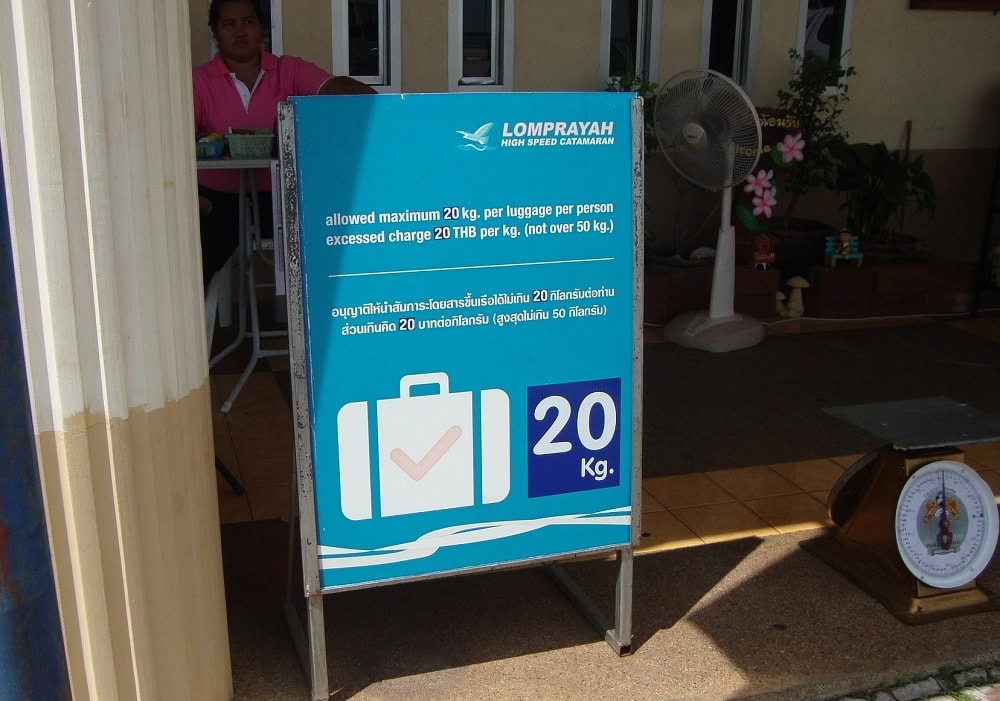 Excess luggage charge on Lomprayah ferry to Samui