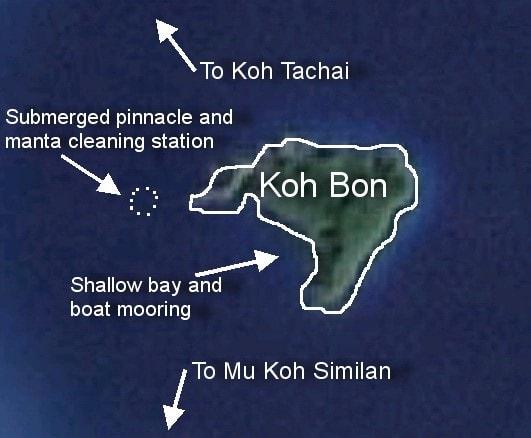 Koh Bon snorkeling map