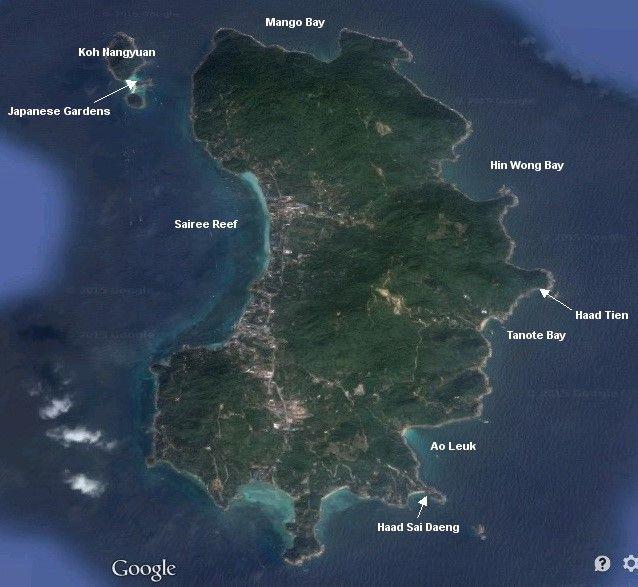 Koh tao snorkeling map