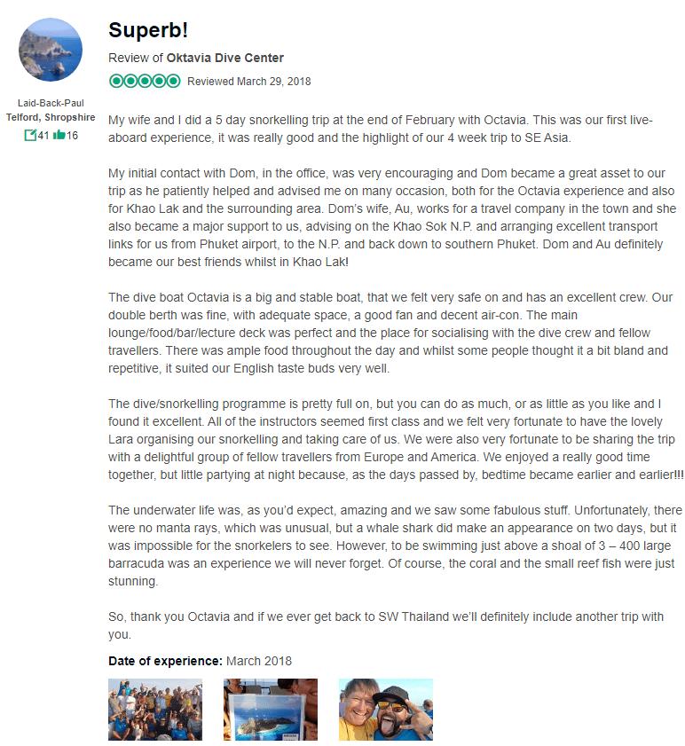 Oktavia liveaboard review